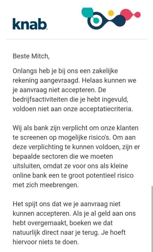 Knab bank - afwijzing