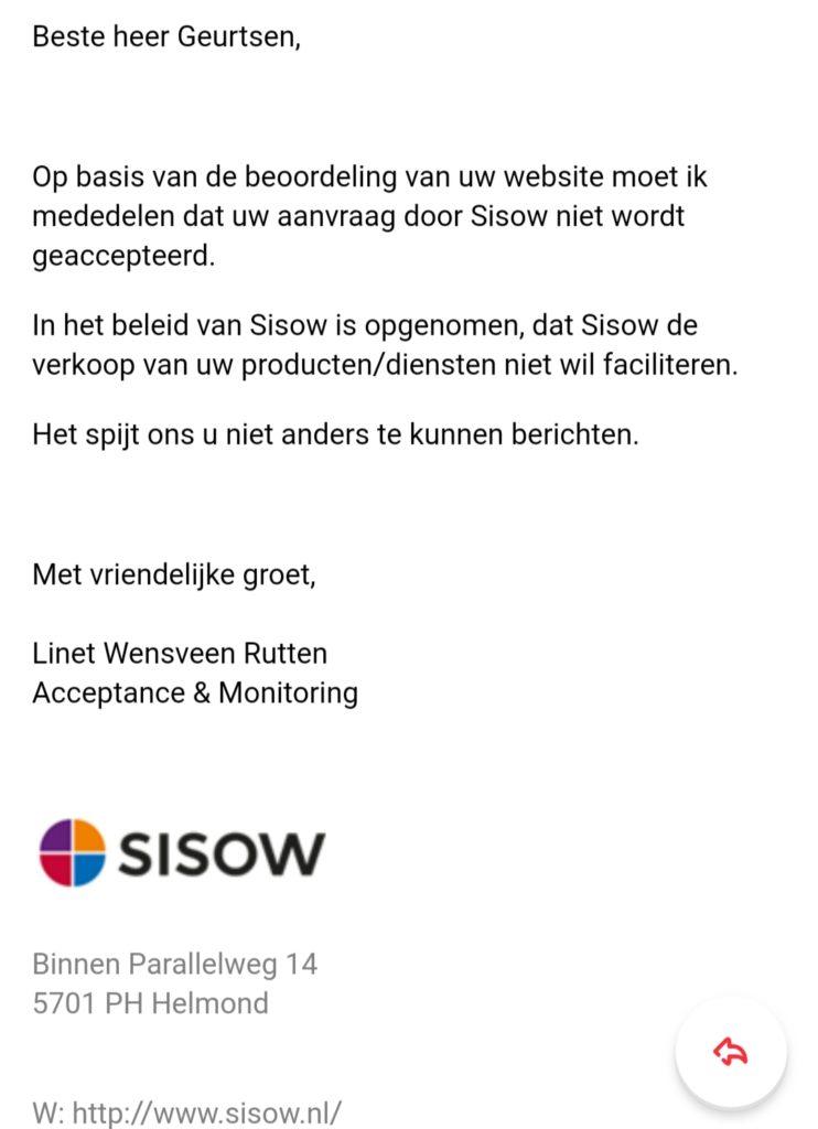 SISOW - afwijzing